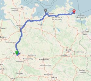 Karte des Routenplaners, auf der die Strecke hannover - Kühlungsborn - Kröslin eingezeichnte ist